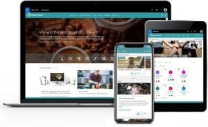 Valo intranet solution on laptop, tablet and mobile phone