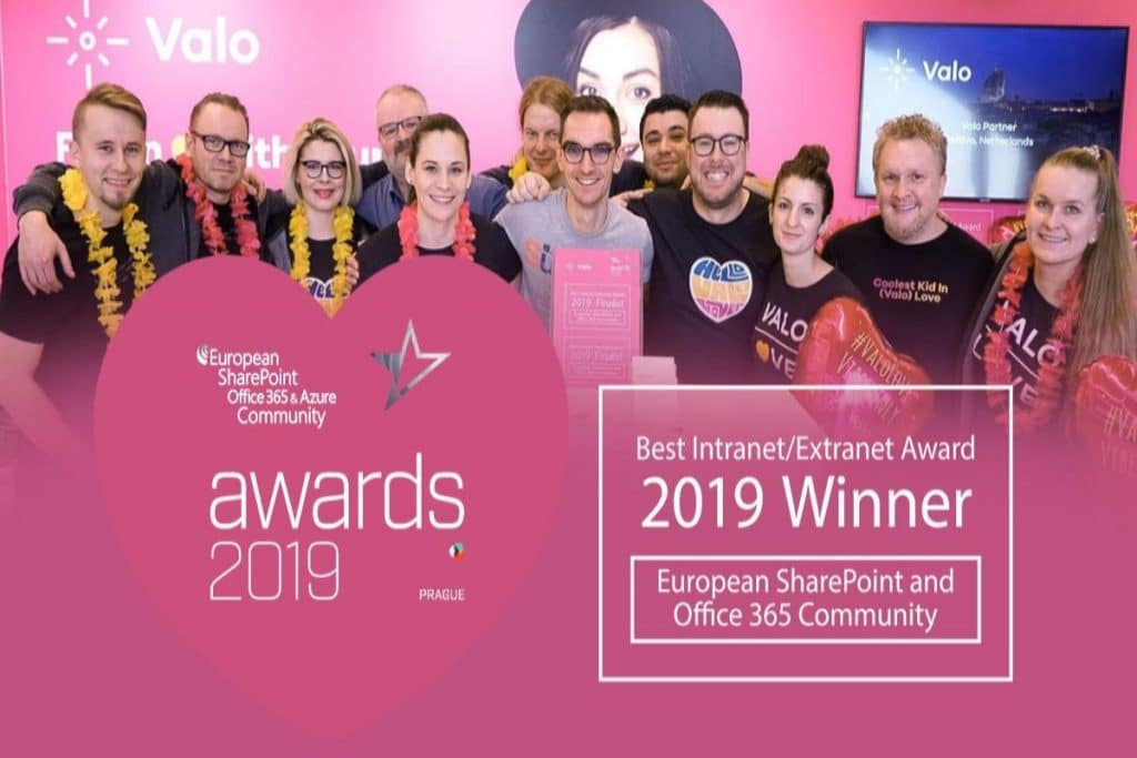 Valo wins Best Intranet Extranet Solution ESPC 2019